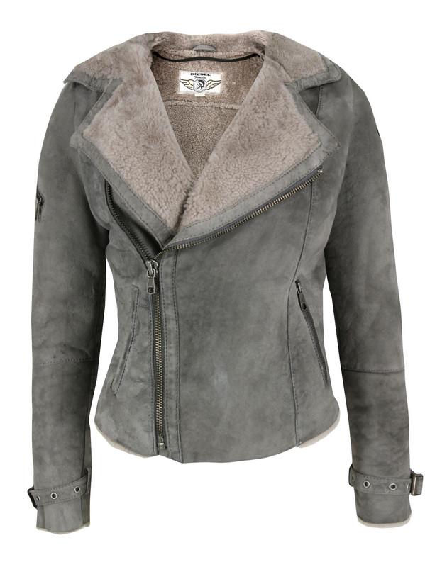 Diesel Hedera Grey Shearling Jacket in Gray for Men   Lyst