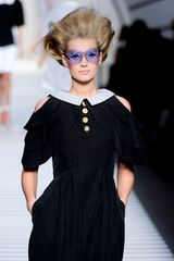 Fendi Spring 2012 Navy Open-Shoulder Sailor Dress with Gold Buttons - Lyst