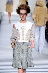 Fendi Spring 2012 Multicolor Knee Lenght Dress With White Oversized Collar