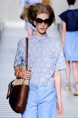 Fendi Spring 2012 Sheer Printedd Short Sleeve Floral Blouse