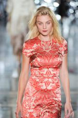 Giles Spring 2012 Red Brocade Print Maxi Evening Dress