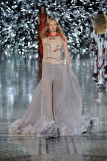 Giles Spring 2012 Swan Print Sheer Evening Gown with Feather Trimmed Hem  - Lyst