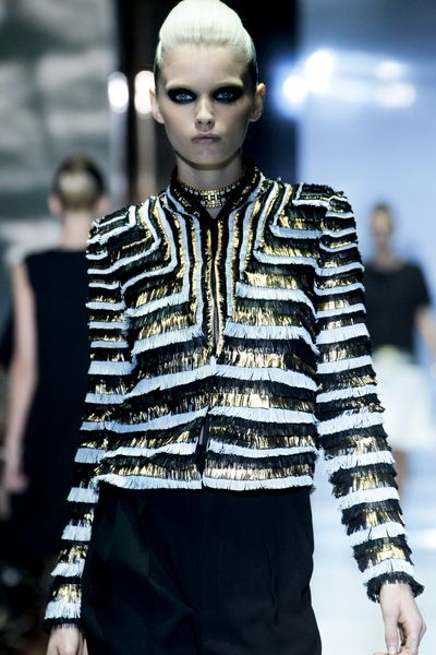 Gucci Spring 2012 Gold And White Short Fringed Boxy Jacket  in Gold (black) - Lyst