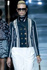 Gucci Spring 2012 White And Blue Stripe Print Short Boxy Jacket Withh Gold Buttons - Lyst