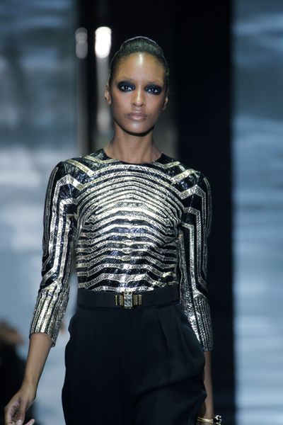 Gucci Spring 2012 Black and Gold Geometric Blouse in Gold (black) - Lyst