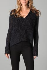 Helmut Lang Scoop Neck Sweater with Hi Low Hem - Lyst