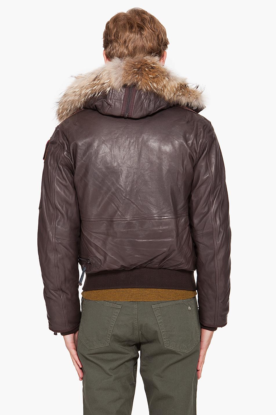 parajumpers leather jacket gobi brown