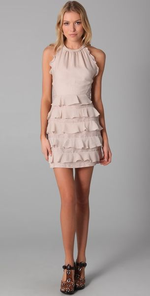 Rebecca Taylor Halter Dress with Lace Detail in Beige - Lyst