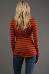 Testament Long Sleeve Henley Top in Rust in Brown (rust) - Lyst