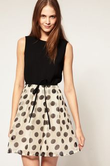 Boutique By Jaeger Silk Mix Polka Dot Dress With Bow - Lyst