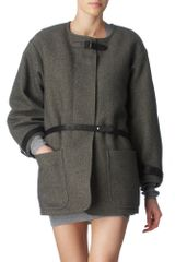 Isabel Marant Oversized Coat with Leather Strap - Lyst