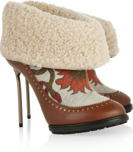 Bally Mame Shearling and Brocade Ankle Boots in Brown