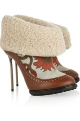 Bally Mame Shearling and Brocade Ankle Boots in Brown - Lyst