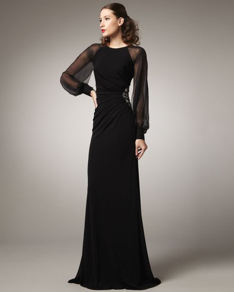 David Meister Long Sleeve Illusion Gown In Black Lyst
