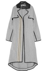 Derek Lam Blanket-stripe Wool-blend and Leather Coat