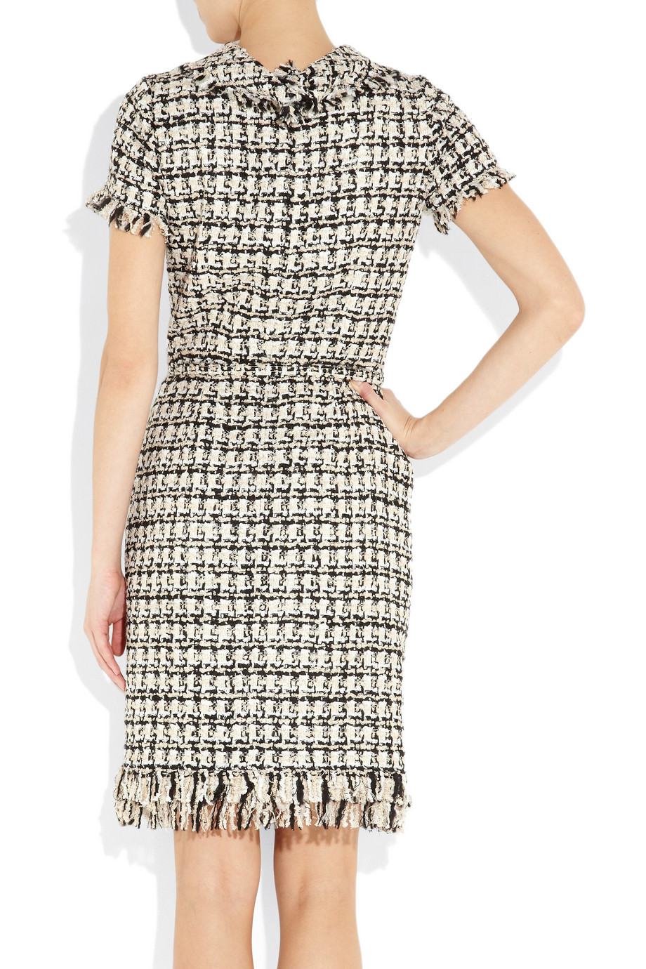Oscar De La Renta Boucl 233 Tweed Dress In Black Lyst