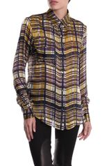 Suno Plaid Silksatin Shirt in Brown (yellow) - Lyst