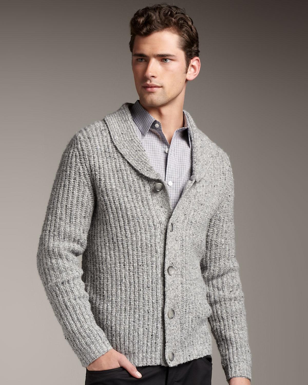 Theory Shawl-collar Cardigan in Gray for Men   Lyst