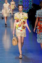Dolce & Gabbana Spring 2012 Vegetable Print Dress with Floral Crochet Detail  - Lyst