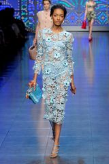 Dolce & Gabbana Spring 2012 Blue Floral Crochet Dress with Bloomers in Blue - Lyst