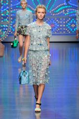 Dolce & Gabbana Spring 2012 Blue Lace Knee Length Skirt - Lyst