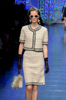 Dolce & Gabbana Spring 2012 Knee Length Crochet Knit Skirt - Lyst