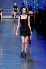 Dolce & Gabbana Spring 2012 Black Square Neck Floral Embellished Mini Dress - Lyst