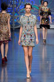 Dolce & Gabbana Spring 2012 Crystal Encrusted Blue Cocktail Dress - Lyst