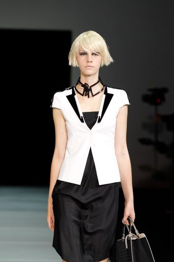 Emporio Armani Spring 2012 White Short Sleeve Jacket With Black Lapels - Lyst