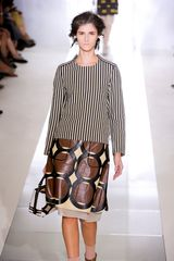 Marni Spring 2012 Multicolor Geometric Print Knee Lenght Skirt With White Organza Underpinning - Lyst