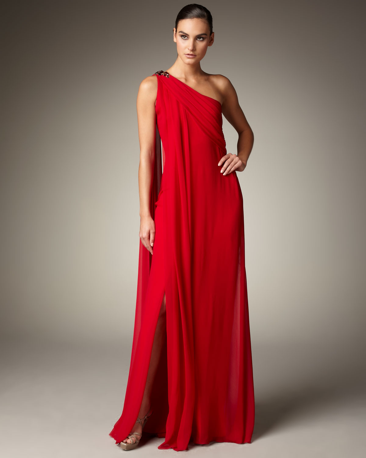 Lyst - Notte By Marchesa Bejeweled One-shoulder Gown in Red