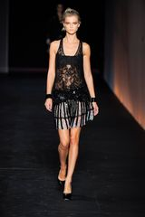 Roberto Cavalli Spring 2012 Sheer Black Lace & Sequin Cocktail Dress With Multi Print Detail - Lyst