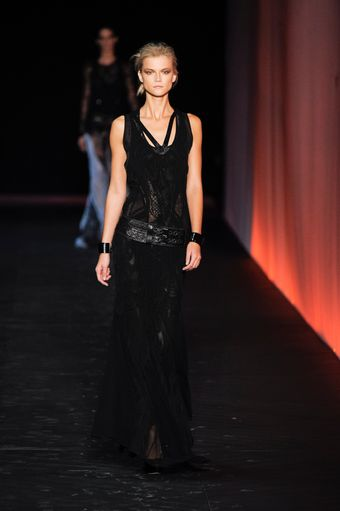 Roberto Cavalli Spring 2012 Sheer Chiffon Floor-Sweeping Gown In Black With Intricate Details  - Lyst