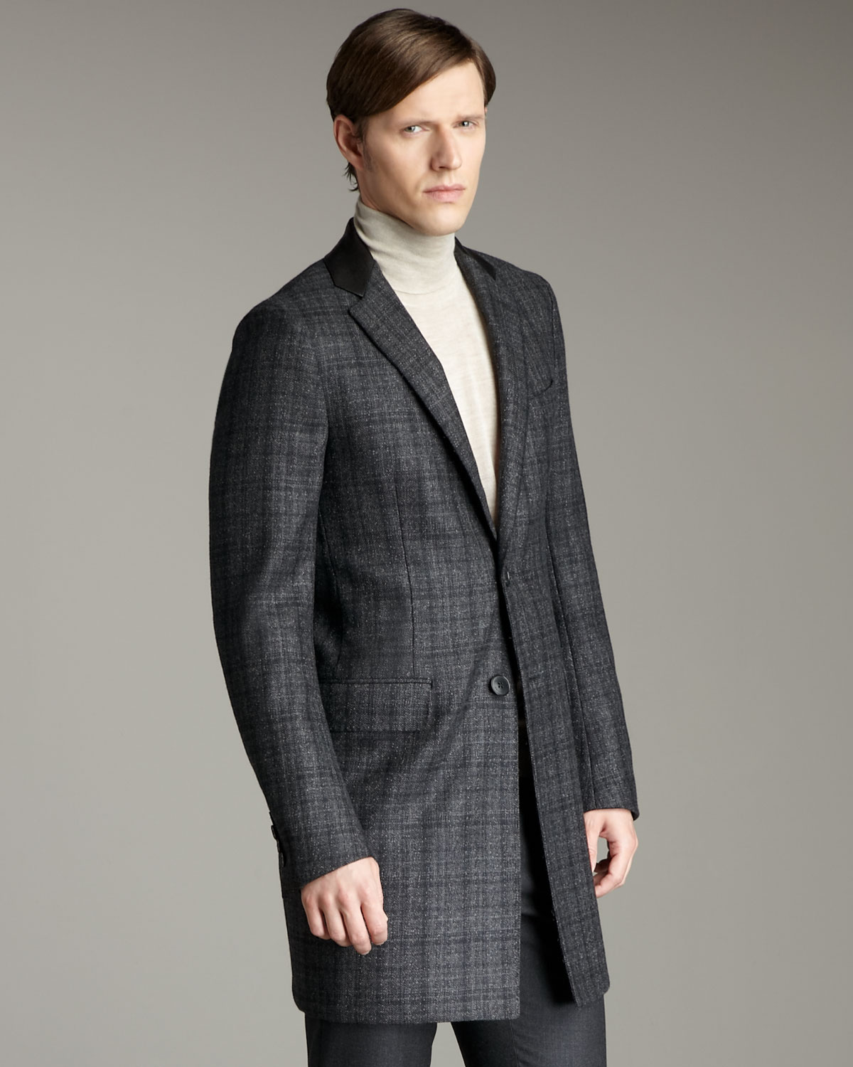 Valentino Leather-lapel Plaid Topcoat in Gray for Men | Lyst