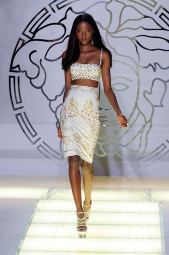 Versace Spring 2012 White Gold Studded Knee Lenght Pencil Skirt - Lyst