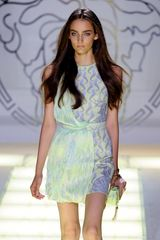 Versace Spring 2012 Pastel Belted Goddess Dress with Starfish Print - Lyst