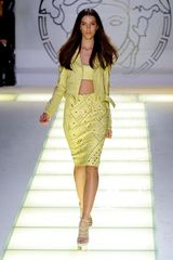 Versace Spring 2012 Gold Studded Yellow Biker Jacket  - Lyst