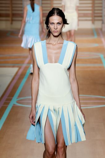 Versus  Spring 2012 Bright White Deep Neck Cheerleader Dress - Lyst