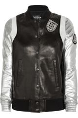 Balmain Appliqué Leather Baseball Jacket - Lyst