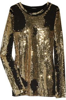 Balmain Distressed Sequin-embellished Cotton Top - Lyst