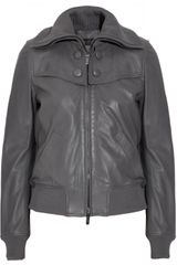 Calvin Klein Leather Bomber Jacket - Lyst