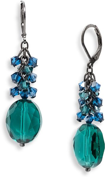 Dabby Reid Ltd. Crystal Drop Earrings in Green (emerald/ sapphire mix) - Lyst