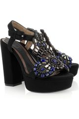 Marni Embellished Crepe-covered Platform Sandals