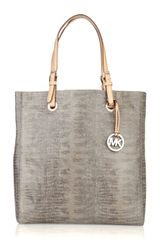 Michael by Michael Kors Jet Set Lizard-effect Leather Tote - Lyst