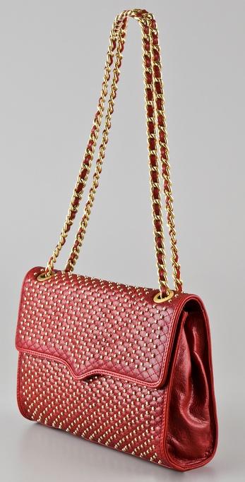Lyst Rebecca Minkoff Affair Studded Shoulder Bag In Brown