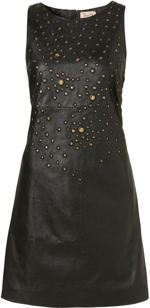 Topshop Leather Stud Sequin Bodycon Dress By Dress Up - Lyst