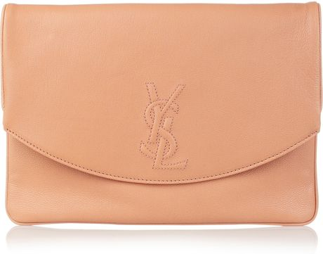 Saint Laurent Belle Du Jour Leather Clutch in Pink - Lyst