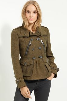 Burberry Brit Double Breasted Wool Coat - Lyst