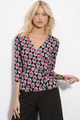 Diane Von Furstenberg Brittany Wrap Top in Multicolor (diamond haze large) - Lyst