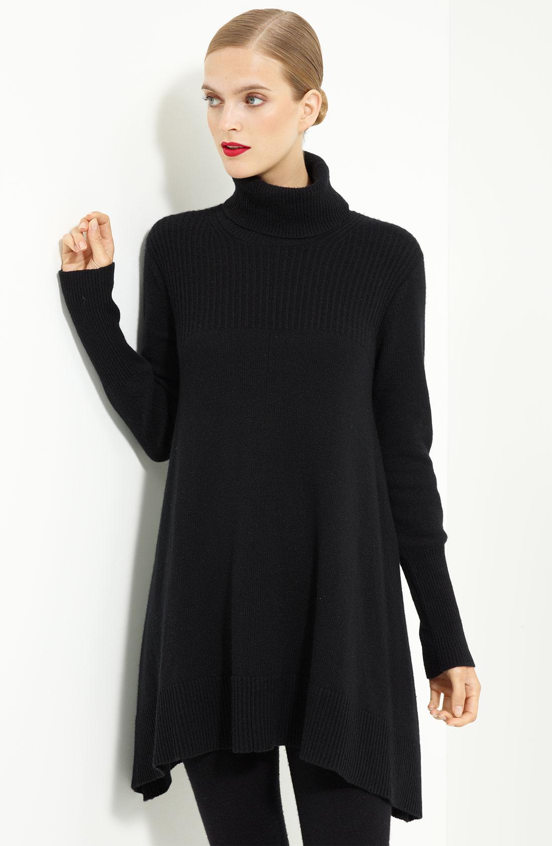 donna karan new york collection cashmere tunic in black lyst. Black Bedroom Furniture Sets. Home Design Ideas